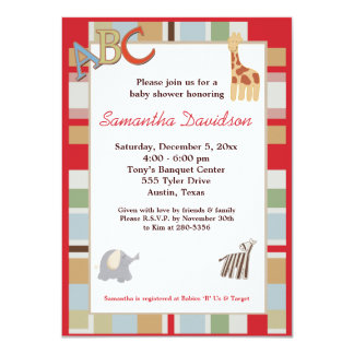 Alphabet Soup Jungle Baby Shower Invitation