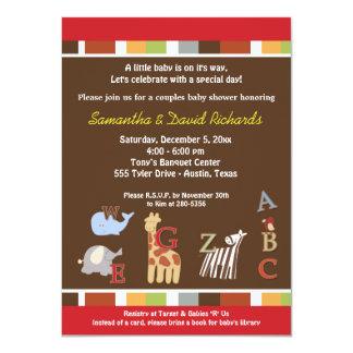 "Alphabet Soup Jungle Baby Shower Invite (Brown) 4.5"" X 6.25"" Invitation Card"
