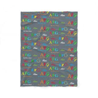 alphabet soup letters fleece blanket