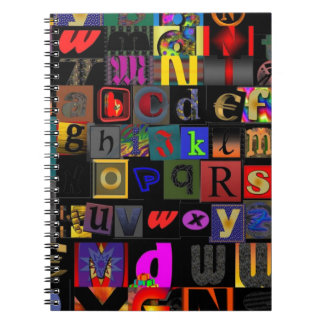 Alphabet Soup, mosaic letters design, fun colourfu Notebook