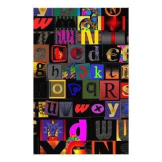 Alphabet Soup, mosaic letters design, fun colourfu Stationery