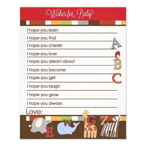 Alphabet Soup Wishes For Baby Advice Cards