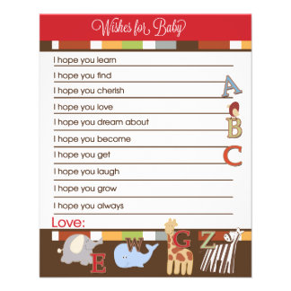 Alphabet Soup Wishes For Baby Advice Cards Custom Flyer