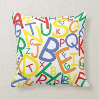 Alphabet throw pillow for child's bedroom nursery