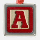 Alphabet Toy Block A Christmas Ornament