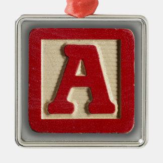 Alphabet Toy Block A Metal Ornament