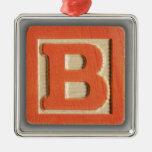 Alphabet Toy Block B Square Metal Christmas Ornament