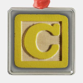 Alphabet Toy Block C Square Metal Christmas Ornament