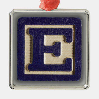 Alphabet Toy Block E Metal Ornament