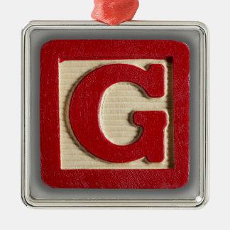 Alphabet Toy Block G Metal Ornament
