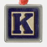 Alphabet Toy Block K Christmas Tree Ornaments