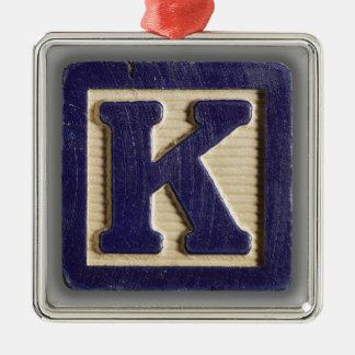 Alphabet Toy Block K Metal Ornament