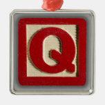 Alphabet Toy Block Q Christmas Ornament
