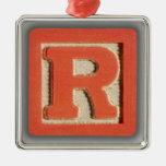Alphabet Toy Block R Christmas Tree Ornament