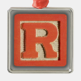 Alphabet Toy Block R Square Metal Christmas Ornament