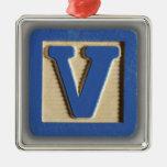 Alphabet Toy Block V Ornaments