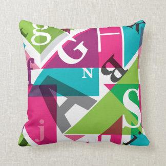 Alphabet typography art pillow