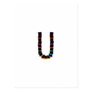Alphabet U with colorful polaroids Postcard