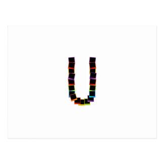 Alphabet U with colorful Postcard