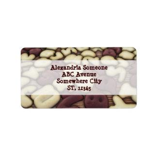 Alphabet Vanilla and Chocolate Cookies Biscuits Address Label