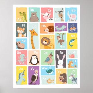 Alphabet wall art Alphabet animals Kids room