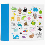 Alphabet with animal pictures and letters binder