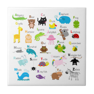 Alphabet with animal pictures and letters ceramic tile