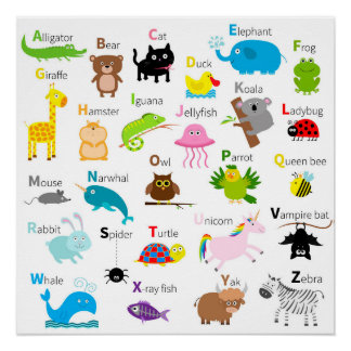 Alphabet with animal pictures and letters poster