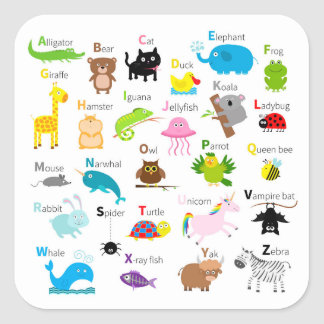 Alphabet with animal pictures and letters square sticker
