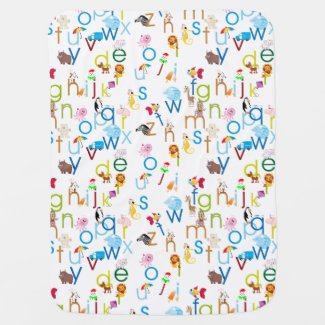 Alphabet with Fun Animals Stroller Blanket