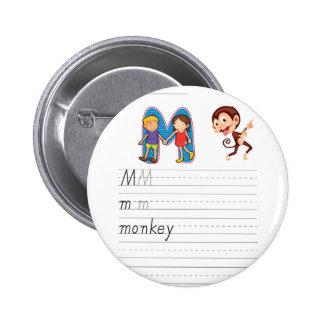 Alphabet worksheet pinback button