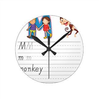 Alphabet worksheet wall clock