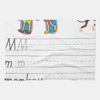 Alphabet worksheet hand towel