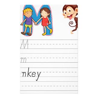 Alphabet worksheet stationery paper