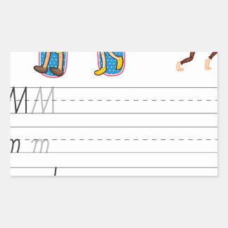 Alphabet worksheet rectangular stickers