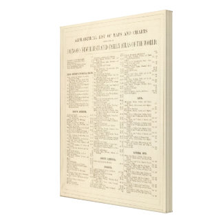 Alphabetical List of Maps and Charts Gallery Wrap Canvas