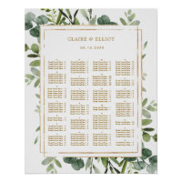 ALPHABETICAL ORDER Gold Greenery Wedding Seating Poster