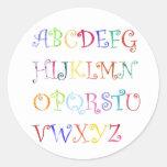 Alphabets in color stickers round sticker