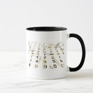 Alphanumeric design mug