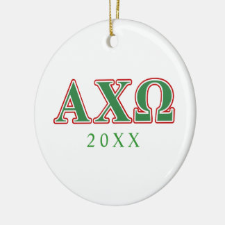 Alphi Chi Omega Green and Red Letters Double-Sided Ceramic Round Christmas Ornament