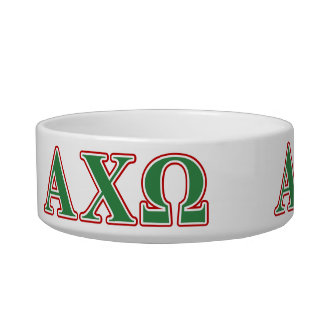 Alphi Chi Omega Green and Red Letters Pet Water Bowls