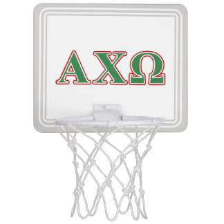 Alphi Chi Omega Green and Red Letters Mini Basketball Hoops