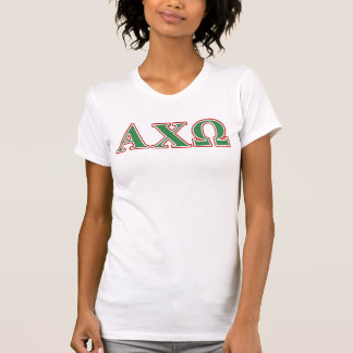 Alphi Chi Omega Green and Red Letters T Shirt