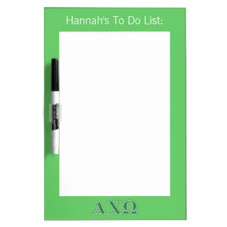 Alphi Chi Omega Green Letters Dry-Erase Whiteboard