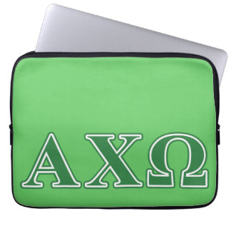 Alphi Chi Omega Green Letters Laptop Sleeves