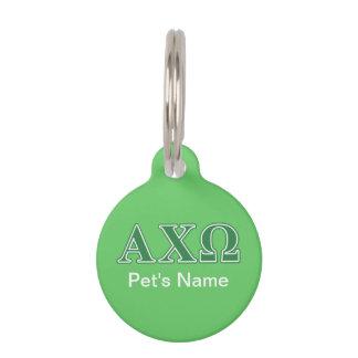 Alphi Chi Omega Green Letters Pet Name Tags