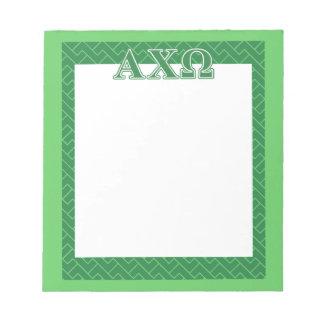 Alphi Chi Omega Green Letters Scratch Pad