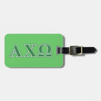 Alphi Chi Omega Green Letters Tag For Luggage