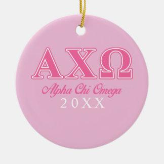 Alphi Chi Omega Pink Letters Ceramic Ornament