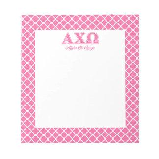 Alphi Chi Omega Pink Letters Memo Pad